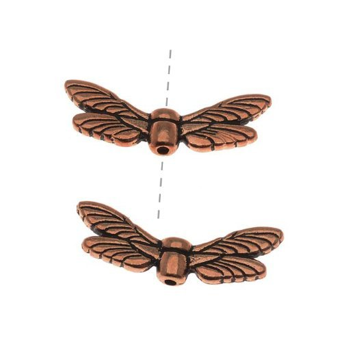 Copper Plated Pewter Dragonfly Wing Beads 20mm (2)