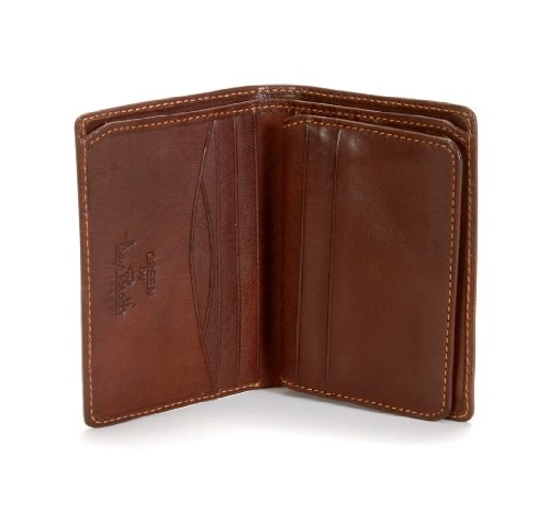 Women's Italian Leather Bifold Passcase Flap Wallet with ID Window Vertical Front Pocket Multi Card Holder Slots Minimalist Design