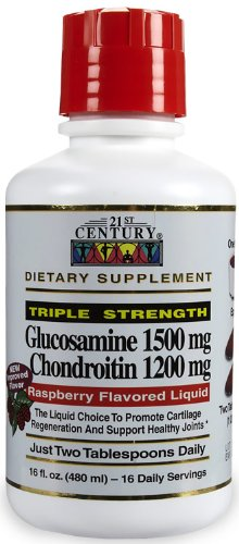 21st Century Vitamins Glucosamine and Chondroitin 3X, Raspberry, 16 oz, My Pet Supplies