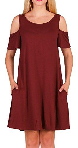 43340f7c1d02 Dasbayla Women s Cold Shoulder Tunic Top Swing T-shirt Dress With ...