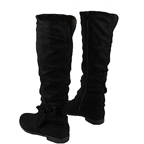 Size Calf Knee Mid Pull Rouched 8 Slouch Long Ladies Flat Boots 3 Black On xYq1xvT