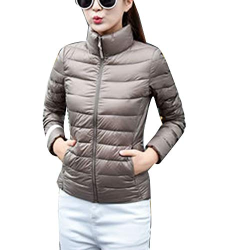 Puffer Khaki Womens Coat Jacket Packable Lighweight Stand Collar Warm xYwCqF4Y