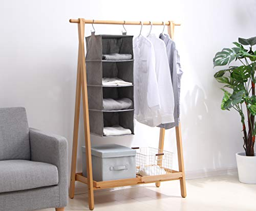 iwill CREATE PRO Hanging Closet Storage Bag, Collapsible Seasonal Clothes Storage Shelf, 4 Shelves, Dark Gray