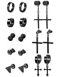Thunaraz Stainless Steel Cross Dangle Hinged Hoop Earrings for Men Women Huggie Drop Earrings 3-8Pairs