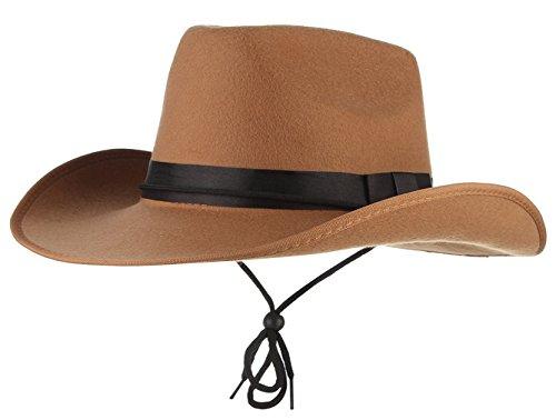 Jelord Men Faux Felt Wide Brim Western Cowboy Hat Fancy Dress Party Hats Tan