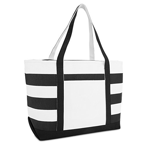 (DALIX Striped Boat Bag Premium Cotton Canvas Tote in Black)