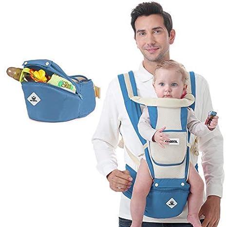 Kingrol - Mochila Portabebés Transpirable con Asiento de Cadera para Bebé Convertible 6 en 1 Baby Carrier Portabebés con Taburete de Cintura para Recién ...
