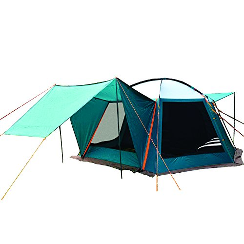 NTK Texas GT up to 7 Persons14 by 14FT by 6.9FT Height 100% Waterproof 2500mm Deluxe Family Extra Large Car Hunting 3 Season Camping Tent
