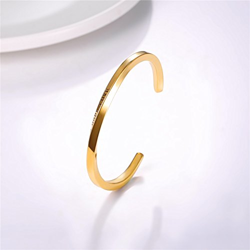 U7 FAITH HOPE LOVE Engraved Bangle Inspirtional Jewelry 18K Gold Plated Plated Twisted Cuff Bracelet by U7 (Image #4)