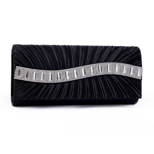 - Damara Womens Elegant Front Pleated Stone Clutch Evening bags,black