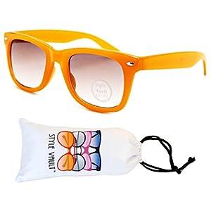 Kd217-vp Kids Child 2-10yr Old Wayfarer 80s Sunglasses (T2531H Caramel, mirrored)