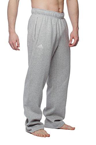 Adidas Men's wide leg fleece sweatpants with zip pockets, Grey S