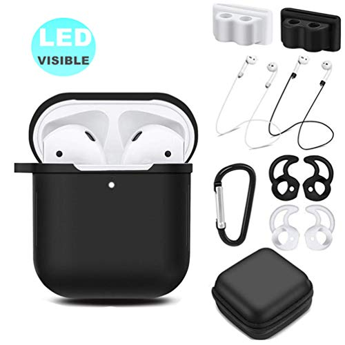 AirPods Case Accessories Kit [Front LED Visible], HULOSAN Silicone Protective Airpods Case Cover Skin for Apple AirPod 1 & 2 -With Airpods Ear Hook/Tips/Strap/Clips/Watch Holder/Keychain/Zipper Box
