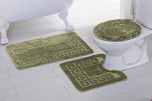 Elegant Home 3 Piece Bathroom Rug Set Bath Rug, Contour Mat, Lid Cover Non-Slip with Rubber Backing Greek Key Design Solid Color # Laura (Light/Sage Green)