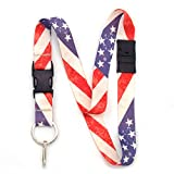 Buttonsmith Old Glory Breakaway Lanyard - with Buckle and Flat Ring - Made in The USA