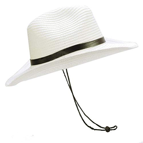 (Sandy Ting Stained Woven Straw Outback Western Cowboy Adult Sun hat (White))