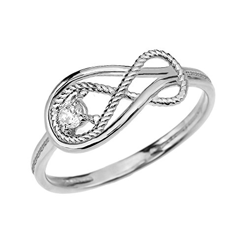 Diamond Rope Infinity 10k White Gold Ring(Size 6.75)