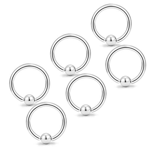 Yaalozei 6PCS 12G 16mm Stainless Steel Captive Bead Nose Hoop Rings Eyebrow Cartilage Nipple Tongue Belly Earring Septum Ring Piercing Jewelry for Men Women Silver ()