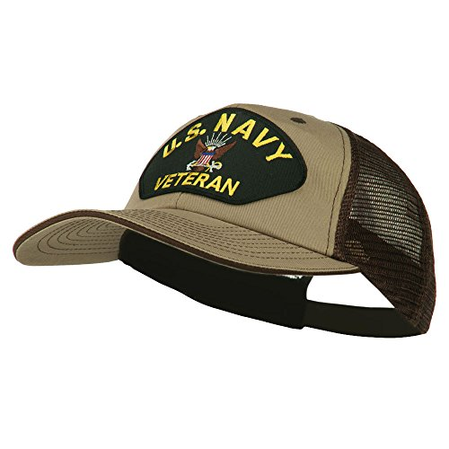 US Navy Veteran Military Patched Big Size Washed Mesh Cap - Khaki Brown OSFM