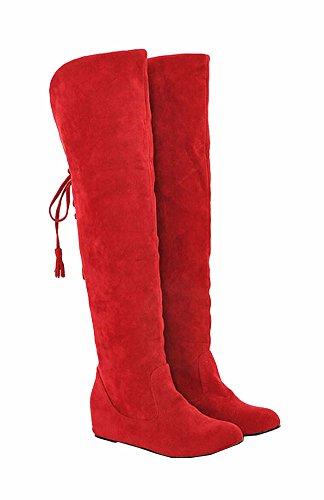 Große Größe 34.5-41.5 Schnee lädt die warme Winter-Pelz-flache Schuhe Mode Frauen Stiefel Overknee-Stiefel Rote