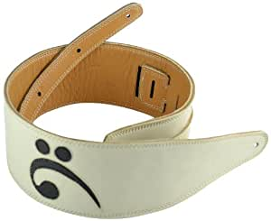 Pete Schmidt Leather Bass Guitar Strap - Handmade White Leather With Black Bass Clef (3 1/2 Inch Wide)
