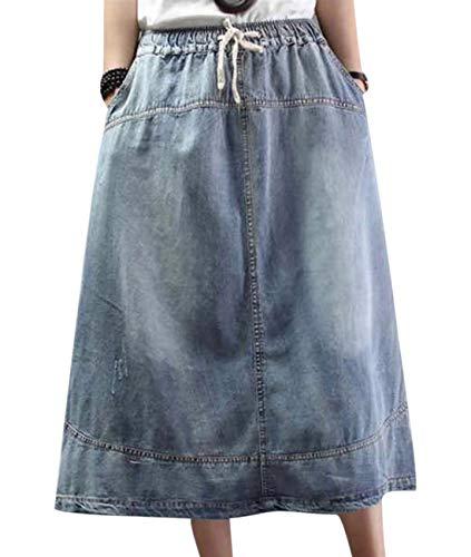 Women Casual Retro Comfy Long Denim Skirts Asian Traditional Style A Skirt Pockets YAA-17