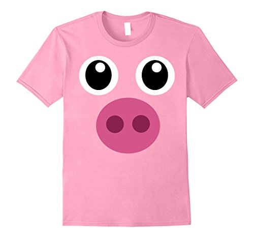 [Mens Pig Face Shirt, Funny Cute Animal Halloween Costume Gift Tee Medium Pink] (Funny Farmer Costume)