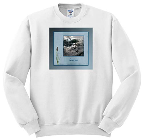 Beverly Turner Thank You Design - Thank You, Frog in a Pond Photo, Cattails Accent, Blue Frame - Sweatshirts - Youth Sweatshirt Large(14-16) (ss_286999_12)
