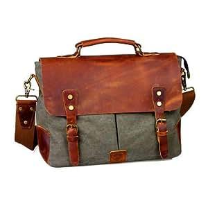 Vintage Style Retro Grey Leather Canvas Laptop Messenger Bag