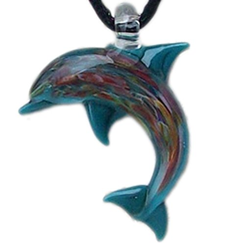 - Hand Blown Glass Aqua Dolphin Pendant, Focal Bead, Lampwork