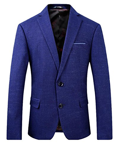 Herringbone Belted Jacket (lovever Men Herringbone Wool Blazer Jacket with Elbow Patches Blue XL)