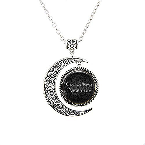 stap Edgar Allan Poe - Quoth the Raven, evermore moon Necklace - Nevermore moon Necklace - Poe Jewellery - Poe Jewelry - Poe Raven Quote