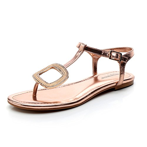 (DUNION Women's Able Rhinestone Buckle Thong Flat Sandal T-Strap Summer Party Sandals,Able Rose Gold,9 B(M) US)