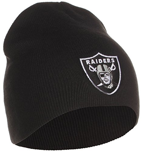 Oakland Raiders Uncuffed Embroidered Logo Winter Knit Beanie ... c0628c22f86