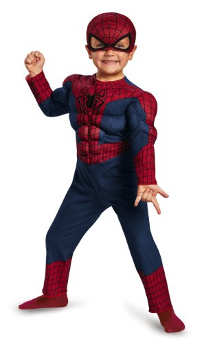 Spiderman Costumes Movie (Disguise Marvel The Amazing Spider-Man 2 Movie Spider-Man Toddler Muscle Costume, Small/2T)