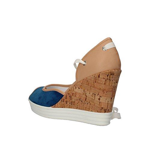 HOGAN REBEL sandali donna blu cuoio pelle AH730