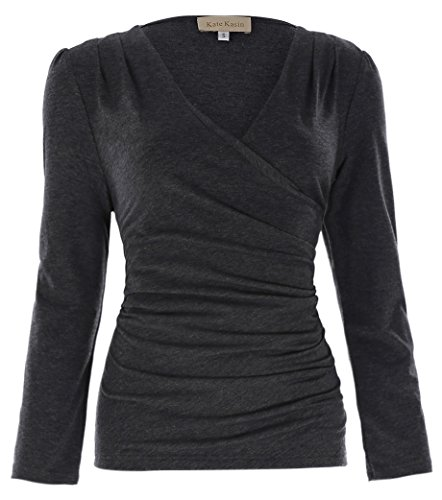 Jack Smith Fashion Women's Faux Wrap Blouse With Pullover Closure (Stretch Wrap Blouse)