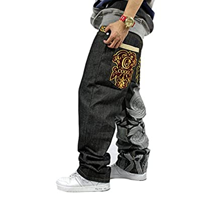 Hot QBO Men's Hip Hop Embroidery Baggy Jeans Denim Loose Trousers