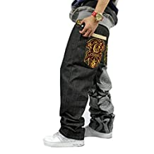 Crazy Men's Hip Hop Embroidery Baggy Jeans Denim Loose Trousers