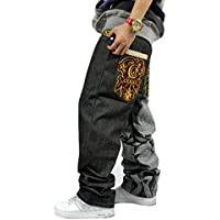QIBOE Mens Fashion Half Denim Cargo Pant Summer Baggy Jeans