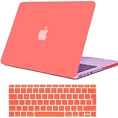 Se7enline - Carcasa rígida para Apple MacBook de 13 y 15 Pulgadas (Tacto Suave), diseño de satén, Color Blanco y Negro Naranja Living Coral Macbook ...