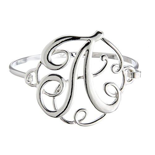 PammyJ Silvertone Initial A Bangle Bracelet ()