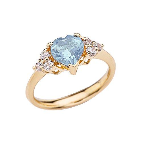 (CaliRoseJewelry Yellow Gold 14k Heart Shape Created March Aquamarine Gemstone Ring (Size 9))
