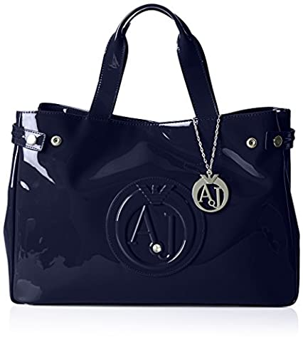 Armani Jeans Patent Crystal East West Tote, Navy