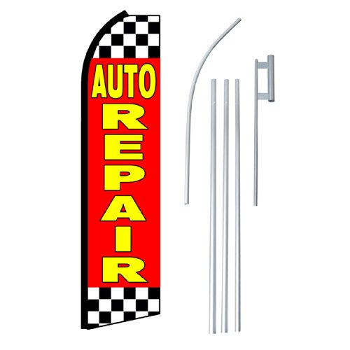 "NEOPlex - ""Auto Repair"" Complete Flag Kit - Includes 12' Swooper Feather Business Flag With 15-foot Anodized Aluminum Flagpole AND Ground Spike"