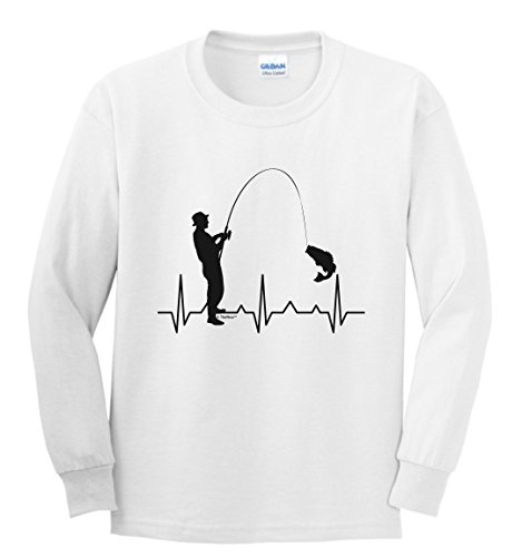 Funny Fishing Shirts for Women Youth Long Sleeve T-Shirt Small White