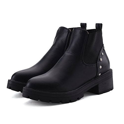Allhqfashion Women's Solid PU Kitten-Heels Pull-On Round Closed Toe Boots Black 2gn59lBLPC
