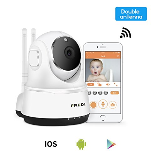 FREDI Wireless Baby Monitor Camera 720P Security IP Home Camera with Two-Way Talking,Infrared Night Vision,Pan Tilt,P2P Wps Ir-Cut Nanny ip Camera Motion Detection Jinbaixun Technology