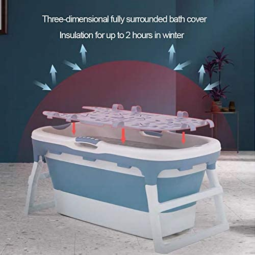 折り畳み式のバスタブポータブルシャワー(ふた付きロング断熱時間)バケット赤ちゃん子供バスタブ家庭用大型タブ折りたたみシャワートレイ快適な大人のバスタブ