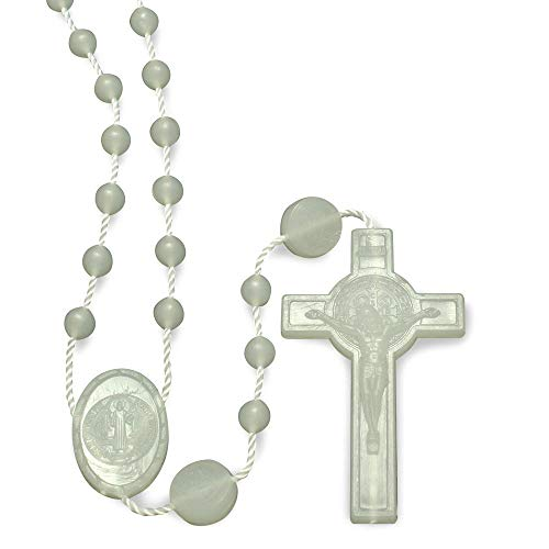 St. Benedict Glow in The Dark Plastic Beads Rosary - 25 Pack